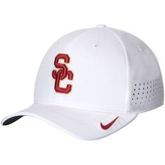22c6286689a Men s Nike White USC Trojans Sideline Vapor Coaches Performance Flex Hat