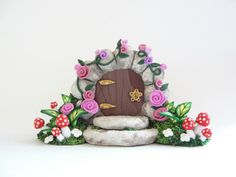 Miniature fairy gate door covered in pink roses for by fizzyclaret, $30.00