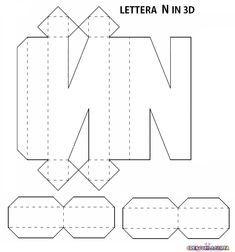 SAGOME LETTERE DELL'ALFABETO E NUMERI IN 3D E NON | 3d Letters, Printable Alphabet Letters, Alphabet Templates, Letters And Numbers, Origami Diy, Paper Crafts Origami, Easy Diy Gifts, Diy Gift Box, Letter U Crafts