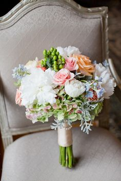 Spring Hydrangea Rose and Berry Bouquet
