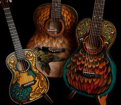 Custom hand painted guitar crafted by NC luthier Jay Lichty, artwork by Clark Hipolito - designed and built for Gloriana's Mike Gossin