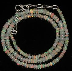 """37Ctw1Necklace 2to5.5mm 17"""" Beads Natural Genuine Ethiopian Welo Fire Opal 93778"""