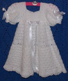White Crochet Christening Gown  use COUPON by sweetpeacollections, $120.00