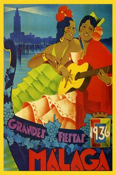 Malaga Spain Girls Guitar Player 1936 Travel Tourism Vintage Poster Repo