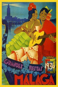 Malaga Spain Girls Guitar Player 1936 Travel Tourism Vintage Poster Repo