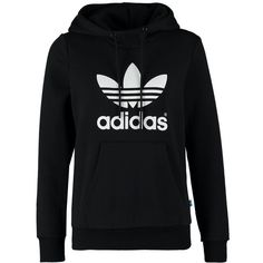 adidas Originals Hoodie ($73) ❤ liked on Polyvore featuring tops, hoodies, shirts, outerwear, sweaters, black, black long sleeve shirt, black hooded sweatshirt, collared shirt and hooded shirt