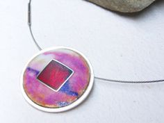 Matte Purple Enamel on Silver Pendant / Colgante de Plata y Esmalte Ópalo al Fuego. Matizado, por MNesmalts