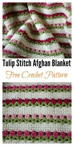 Crochet Afghans Ideas Tulip Stitch Afghan Blanket Free Crochet Pattern - Crochet Tulip is amazing. Especially the crochet flower pattern has all the trappings which can make a perfect spring blanket. Crochet Afghans, Crochet Motifs, Afghan Crochet Patterns, Baby Blanket Crochet, Crochet Stitches, Afghan Blanket, Crochet Blankets, Baby Blankets, Free Crochet Flower Patterns