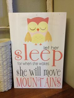 Let her sleep - owl - wall art for nursery or little girls room
