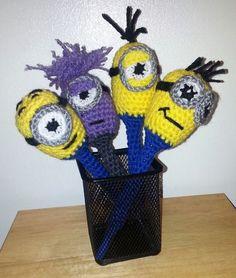 despicable me crochet minion inspired pen cover cozy