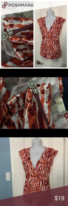 Michael Kors Top Orange Michael Kors sleeveless top with zipper detail MICHAEL Michael Kors Tops Tees - Short Sleeve