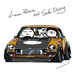 "car illustration ""crazy car art"" jdm japanese old school ""SANMARU Z"" original characters ""mame mame rock"" / © ozizo ""ROCK'N ROLL"" Line theme ""Crazy Car Art"" Line themes ""Crazy Car Art"" Line stickers ""Crazy car Art"" Telegram stickers"