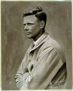 Watercolor Portrait of Charles Lindbergh. Painting by Dorothea E. Kaucher, 1927. Missouri History Museum