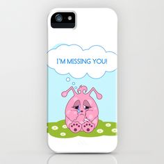 Cute pink monster is missing you iPhone & iPod Case by Nonika Star - $35.00
