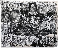 Anselm Kiefer  Wege der Weltweisheit: die Hermansschlacht, 1978  Woodcut, with acrylic and shellac, mounted on canvas, 92 x 109 inches