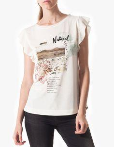 Stradivarius Camiseta manga volantes print
