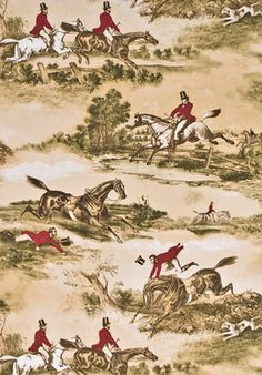 Hunting Scenes 1860 by Lewis & Wood - Red / Green - Wallpaper : Wallpaper Direct Toile Wallpaper, Victorian Wallpaper, Wood Wallpaper, Green Wallpaper, Hunting Wallpaper, Classic Wallpaper, Beautiful Wallpaper, Equestrian Decor, Equestrian Style