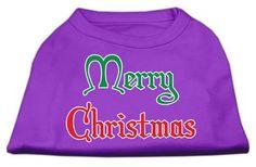 Mirage Pet Products Pet Dog Merry Christmas Screen Print Shirt Dress Costume Purple Small - 10