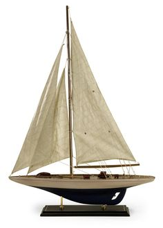 Large Antiqued Model Sailing Ship