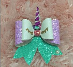 Unicorn Bow/ Glitter unicorn bow