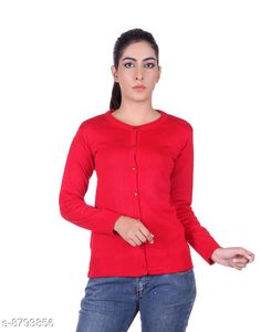 Checkout this latest Sweaters Product Name: *Ogarti woollen full sleeve round neck Red Women's  Cardigan* Fabric: Acrylic Sleeve Length: Long Sleeves Pattern: Solid Multipack: 1 Sizes:  M (Bust Size: 17 in, Length Size: 22 in, Waist Size: 16 in, Hip Size: 17 in, Shoulder Size: 13 in)  L (Bust Size: 18 in, Length Size: 23 in, Waist Size: 17 in, Hip Size: 18 in, Shoulder Size: 13 in)  XL (Bust Size: 19 in, Length Size: 24 in, Waist Size: 18 in, Hip Size: 19 in, Shoulder Size: 14 in)  Country of Origin: India Easy Returns Available In Case Of Any Issue   Catalog Rating: ★3.9 (419)  Catalog Name: Comfy Partywear Women Sweaters CatalogID_1504114 C79-SC1026 Code: 944-8793856-9911