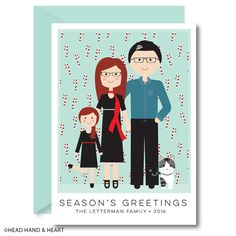 Candy Cane Wallpaper - Greeting Card - Custom Illustrated Family Portrait - Custom Portrait - Holiday Card