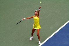 Ana Ivanovic in action against Tsvetana Pironkova (BUL) in the fourth round of the US Open. Ana Ivanovic, Tennis Championships, Sport Tennis, Us Open, Action, Earth, Spaces, My Style, Photos