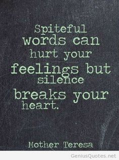 Spiteful words can hurt your feeling but silence breaks you heart. Mother Teresa