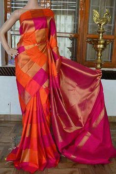 Mango yellow pure silk pure zari kanchivaram silk saree with multi colour thread and zari butta on full body with pink zari rich border and pink zari rich pallu. Code: Cost: 20500 INR Whats app: 7019277192 Kanjivaram Sarees Silk, Chiffon Saree, Pure Silk Sarees, Fancy Sarees, Party Wear Sarees, Silk Sarees Online Shopping, Checks Saree, Wedding Silk Saree, Silk Saree Blouse Designs