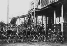 A large gathering of miners on bicyles at Pit in Howard near Maryborough. (undated and no names provided) I Remember When, Australia, Names
