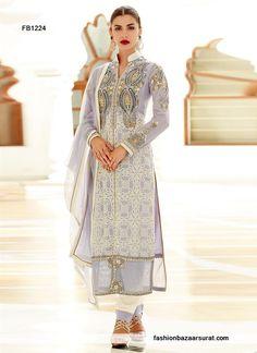 Exotic Grey Georgette Churidar Salwar Suit