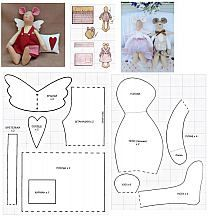 PDF sewing pattern for Blank Cat Doll for crafting 37 - Salvabrani🐞 Interior toys of Mashkantseva Olga 🐞 Mouse Crafts, Felt Crafts, Sewing Crafts, Sewing Projects, Tilda Toy, Fabric Animals, Crochet Mouse, Cat Doll, Sewing Dolls