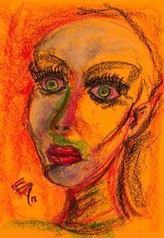 Oil Pastel Paintings, Original Paintings, Original Art, Oil Pastel Colours, Painting Of Girl, Abstract Portrait, Art Oil, Artwork Online, Buy Art