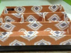 Ikat storage organizer, stylish way to corral cell phone, keys, etc when you walk in the door. Spotted at Homegoods for $7.99!