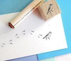 Bird and Bird Tracks Rubber Stamp Set (by norajane @Etsy) ($6.30 USD)