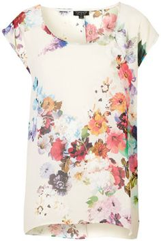 TOPSHOP  Floral Oversized Tee // add a hem of lace @ the bottom and you could have one very cute summery dress!