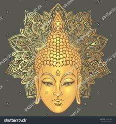 Buddha over ornate mandala round pattern. Vector illustration. Vintage decorative composition. Indian, Buddhism, Spiritual motifs. Tattoo, yoga, spirituality.