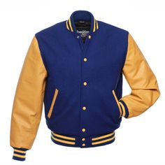 Royal Blue Wool and Gold Leather Letterman Jacket - C135 ❤ liked on Polyvore featuring outerwear, jackets, leather varsity jackets, leather letterman jacket, varsity letter jackets, royal blue leather jacket and wool letterman jacket
