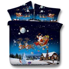 Buon Natale biancheria da letto twin set regina singolo king elegante sowflake babbo natale 3d stampato luna del fumetto copertura consolatore piumino(China (Mainland))