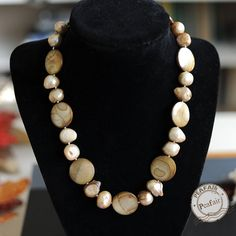 Shell and Freshwater Pearls Necklace irregular pearls beads natural pearls beads 410280N074 by peafair. Explore more products on http://peafair.etsy.com