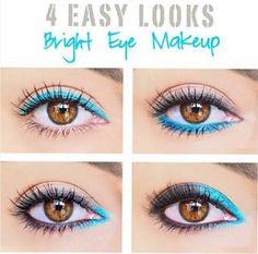 Maneras aplicar eyeliner azul turquesa para verano