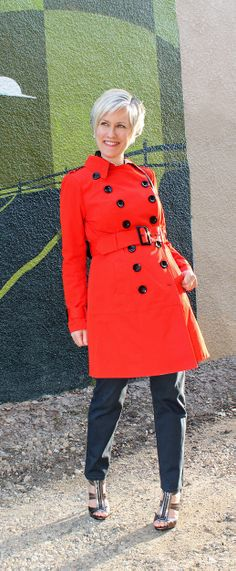 blue hue wonderland--red trench--over 40 fashion--mature style--spring coat with jeans--over 40 blogger