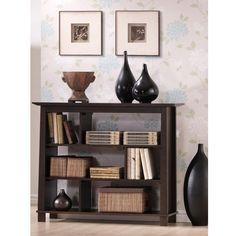 Materials: Rubber wood veneered MDF, particleboardDark brown wenge veneerThree shelf low bookshelf that features offset shelf dividers for added intrigue