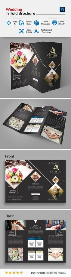 #Wedding Trifold #Brochure - Weddings Cards & #Invites Download here:  https://graphicriver.net/item/wedding-trifold-brochure/19533912?ref=alena994