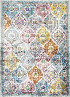 Pretty shapes in this Rugs USA Louvaire NV08 Aged Ogee Trellis Rug!