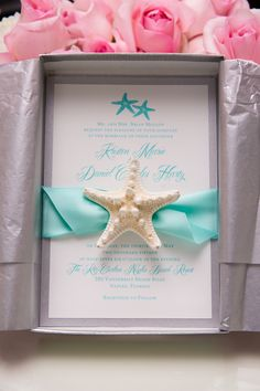 Mospens Studio Starfish Invitation| Turquoise & Pink Starfish Themed Beach Wedding|Photographer: Tonya Malay Photography