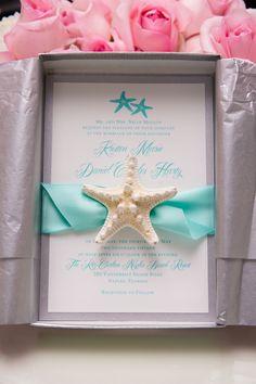 Mospens Studio Starfish Invitation  Turquoise & Pink Starfish Themed Beach Wedding Photographer: Tonya Malay Photography