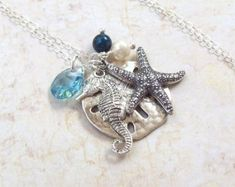 Seahorse Necklace Sea Turtle Necklace Sand by SterlingSimplicity