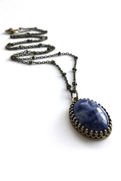 Navy Blue Sodalite Pendant, Antique Brass Satellite Chain, Oval Stone Pendant in Filigree Bezel