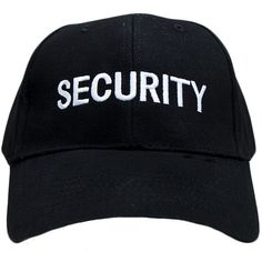 SECURITY CAP ($14) ❤ liked on Polyvore featuring accessories, hats, cotton cap, cap hats, baseball cap hats, ball cap hats and cotton hat